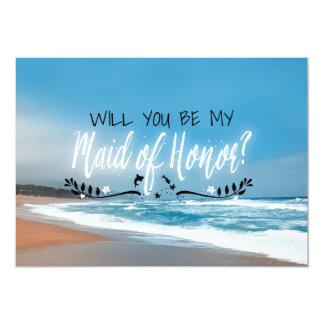 """Usted será mi criada de la criada de la playa del invitación 5"""" x 7"""""""