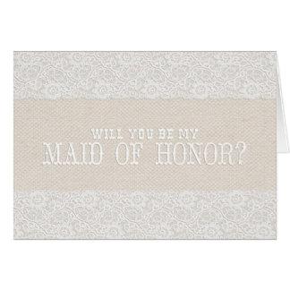 ¿Usted será mi criada del honor? arpillera rústica Tarjeta