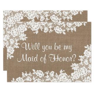 """¿Usted será mi criada del honor? Arpillera y Invitación 5"""" X 7"""""""