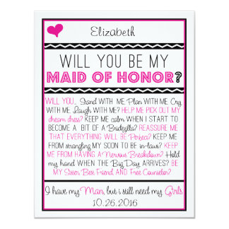 """¿Usted será mi criada del honor? Collage Invitación 4.25"""" X 5.5"""""""