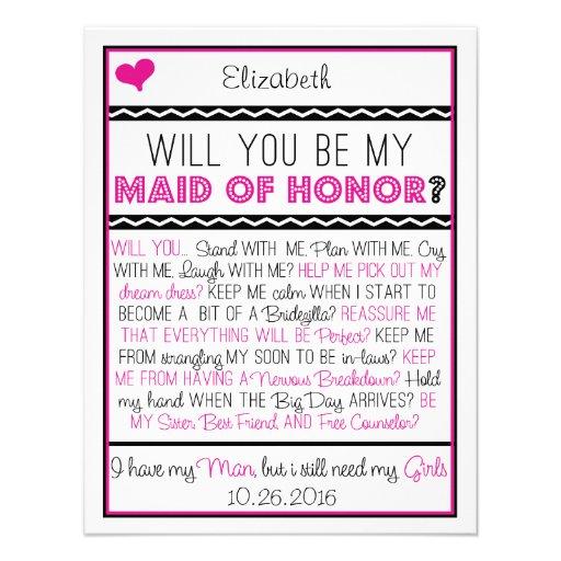 ¿Usted será mi criada del honor? Collage rosado/ne Comunicados