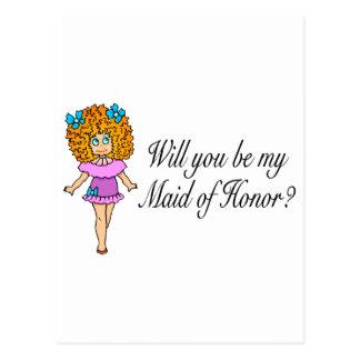 Usted será mi criada del honor (el chica) tarjetas postales