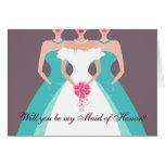 ¿Usted será mi criada del honor? Fiesta nupcial (p Felicitacion