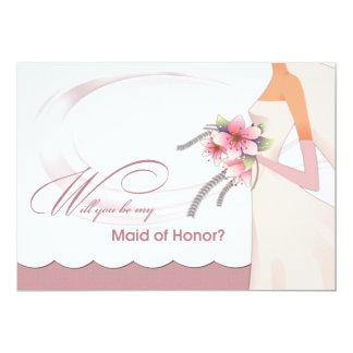 """¿Usted será mi criada del honor? Invitaciones de Invitación 5"""" X 7"""""""