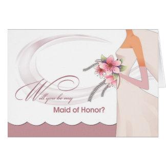 ¿Usted será mi criada del honor? Invitaciones de Tarjeta De Felicitación