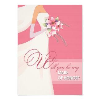 ¿Usted será mi criada del honor? Invitaciones del Invitación 12,7 X 17,8 Cm