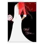 ¿usted será mi criada del honor? : novia elegante felicitación