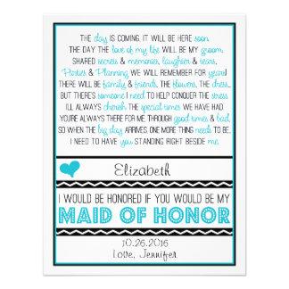 ¿Usted será mi criada del honor Poema azul negro Anuncio Personalizado