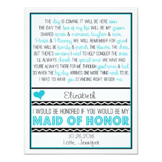¿Usted será mi criada del honor? Poema azul/negro Anuncio Personalizado