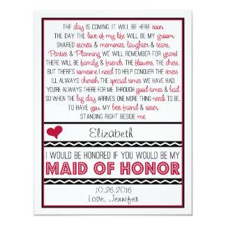 """¿Usted será mi criada del honor? Poema de color Invitación 4.25"""" X 5.5"""""""