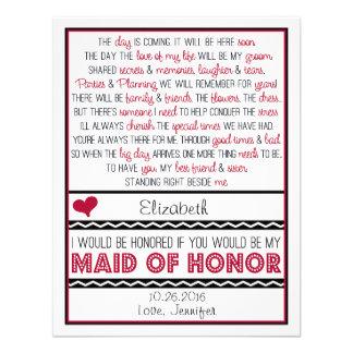 ¿Usted será mi criada del honor? Poema de color ro Invitación