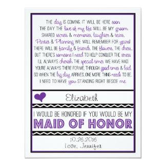 ¿Usted será mi criada del honor? Poema Comunicados Personalizados