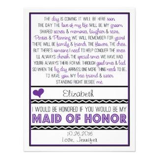 ¿Usted será mi criada del honor? Poema púrpura/neg Invitacion Personal