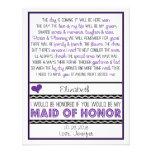 ¿Usted será mi criada del honor? Poema púrpura/neg Comunicados Personalizados