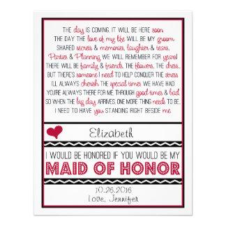 ¿Usted será mi criada del honor? Poema rojo/negro  Invitacion Personal
