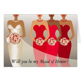 ¿Usted será mi criada del honor? Rojo nupcial del Tarjeta De Felicitación
