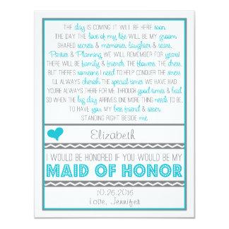 ¿Usted será mi criada del honor? Tarjeta azul/gris Invitaciones Personalizada