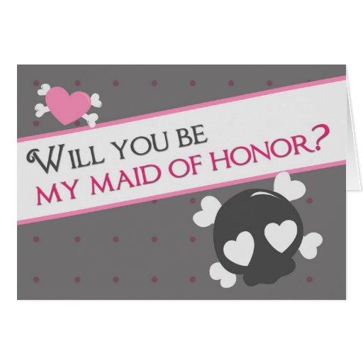 ¿Usted será mi criada del honor? Tarjeta De Felicitación