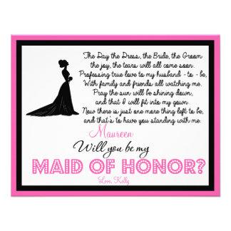 ¿Usted será mi criada del honor? Tarjeta Invitaciones Personalizada