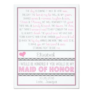 ¿Usted será mi criada del honor? Tarjeta Comunicado Personalizado