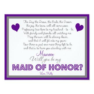 """¿Usted será mi criada del honor? Tarjeta Invitación 4.25"""" X 5.5"""""""