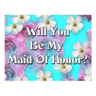 ¿Usted será mi criada del honor? Postal