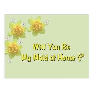 ¿Usted será mi criada del honor? Postales