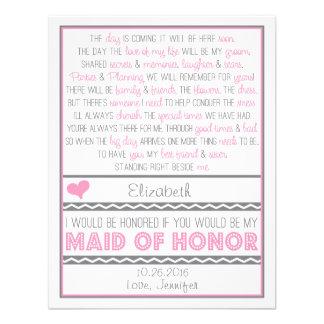 ¿Usted será mi criada del honor? Tarjeta rosada/gr Comunicado Personalizado