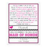 ¿Usted será mi criada del honor? Tarjeta rosada/ne Comunicado Personal