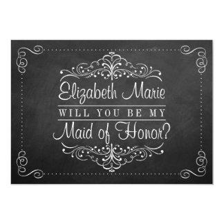 """¿Usted será mi criada del honor? Tarjetas de la Invitación 5"""" X 7"""""""