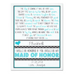 ¿Usted será mi criada del honor? Turquesa/poema Comunicado Personal