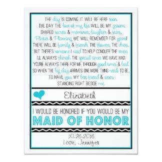 """¿Usted será mi criada del honor? Turquesa/poema Invitación 4.25"""" X 5.5"""""""