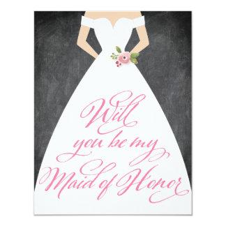 """Usted será mi criada del vestido de la pizarra del invitación 4.25"""" x 5.5"""""""