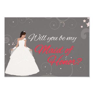 """Usted será mi criada del vestido de lujo blanco invitación 3.5"""" x 5"""""""
