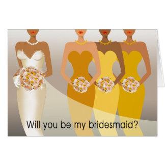 ¿Usted será mi dama de honor? Amarillo nupcial del Tarjeta De Felicitación
