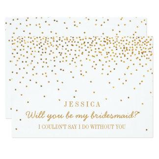 """¿Usted será mi dama de honor? Confeti del oro del Invitación 5"""" X 7"""""""
