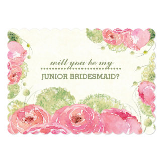 """¿Usted será mi dama de honor del Jr.? Invitaciones Invitación 5"""" X 7"""""""