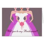 ¿Usted será mi dama de honor? Fiesta nupcial (púrp Felicitacion