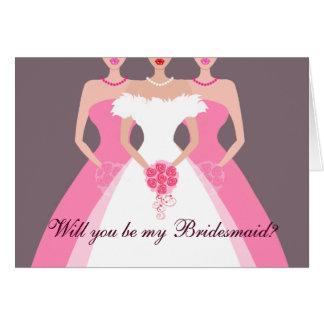 ¿Usted será mi dama de honor? Fiesta nupcial Tarjeta De Felicitación