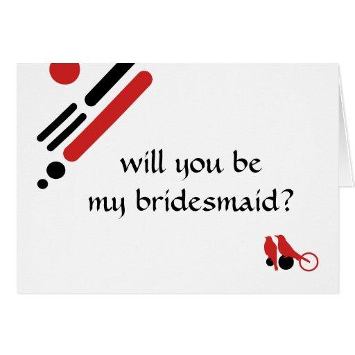 ¿usted será mi dama de honor? : lovebirds de la tarjeta pequeña