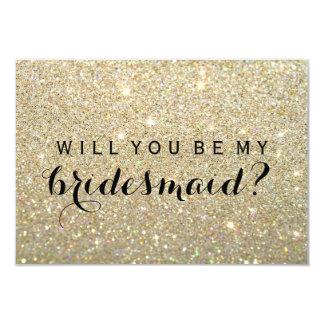 """Usted será mi dama de honor - oro fabuloso invitación 3.5"""" x 5"""""""