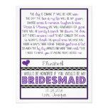 ¿Usted será mi dama de honor? Poema púrpura/negro  Invitaciones Personalizada