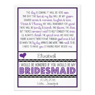 ¿Usted será mi dama de honor Poema púrpura negro Invitaciones Personalizada