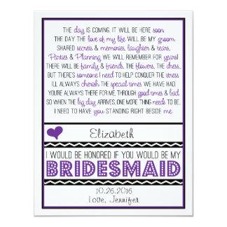 ¿Usted será mi dama de honor? Poema púrpura/negro Invitación 10,8 X 13,9 Cm