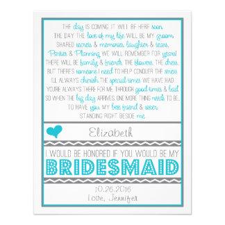 ¿Usted será mi dama de honor? Tarjeta azul/gris de Invitaciones Personalizada