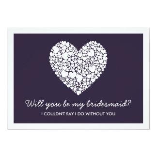 """¿Usted será mi dama de honor? Tarjeta de Purple Invitación 5"""" X 7"""""""