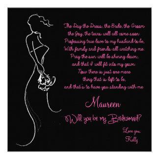 ¿Usted será mi dama de honor? Tarjeta Invitación Personalizada