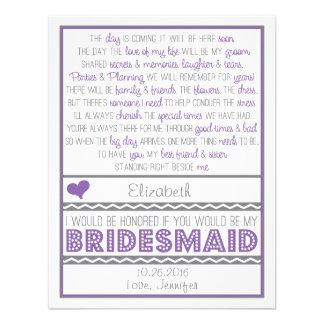 ¿Usted será mi dama de honor? Tarjeta púrpura/gris Invitacion Personalizada