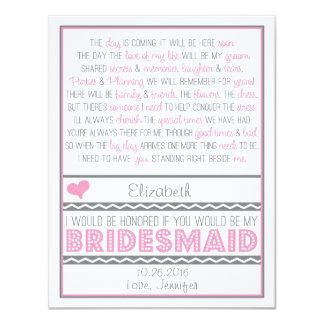 ¿Usted será mi dama de honor? Tarjeta rosada/gris Invitación 10,8 X 13,9 Cm