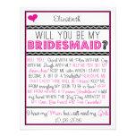 ¿Usted será mi dama de honor? Tarjeta rosada/negra Comunicados Personalizados